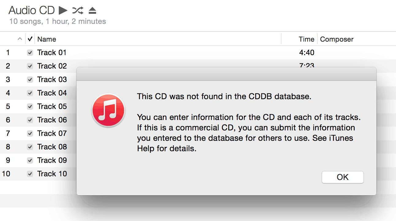 iTunes Track Information Gracenote