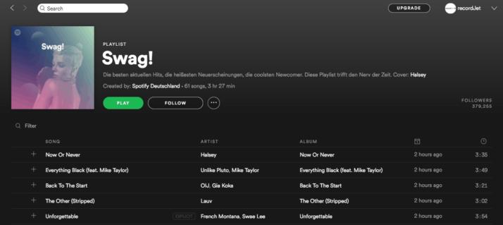 Spotify Playlists | recordJet
