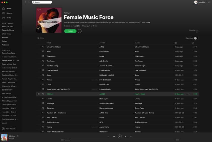 Spotify Female Music Force Playlist by recordJet