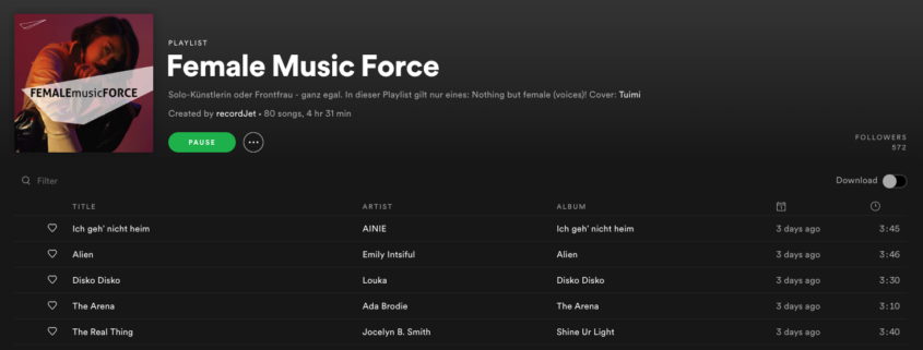 Female Music Force Playlist on Spotify | recordJet