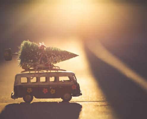 weihnachtsbaum auf vw bulli